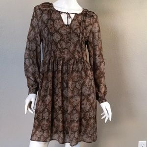 Dresses & Skirts - Long Sleeves Reptile Print Midi Dress